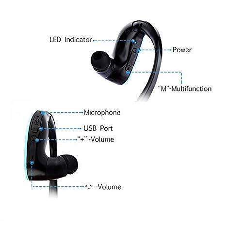 KSCAT Auriculares Bluetooth V4.1, auriculares deportivos inalámbricos con micrófono integrado, 13 horas de tiempo de reproducción para correr, gimnasio, ...