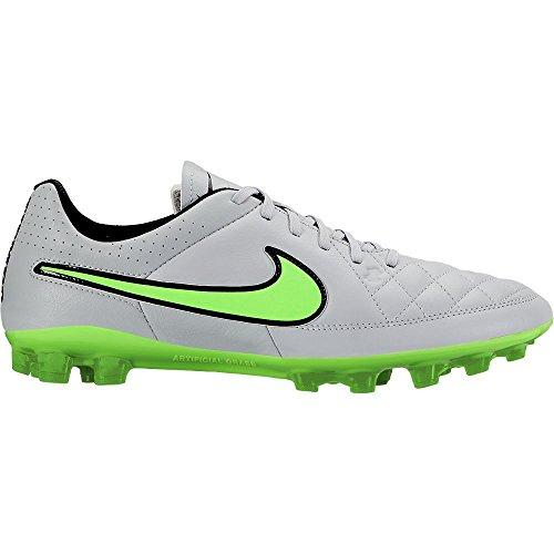 Nike Men Tiempo Genio Leather Ag-r Football Boots - WOLF GREY/GREEN STRIKE-BLK-BLK