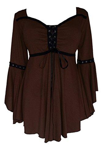 Dare to Wear Victorian Gothic Boho Women's Plus Size Ophelia Corset Top Walnut 1x
