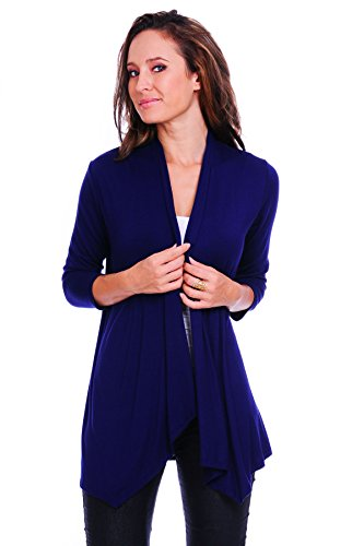 SR Women's Basic 3/4 Sleeve Open Cardigan (Size: Small-5X), Medium, Navy