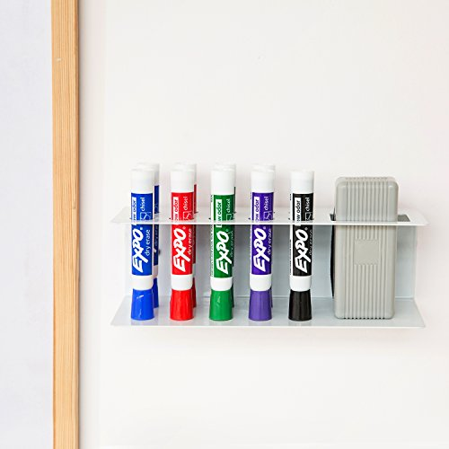 10-Slot Wall-Mounted Metal Dry Erase Marker and Eraser Holder Rack, White by MyGift (Image #2)