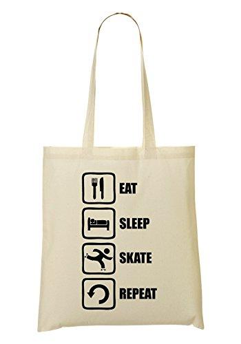 Eat Sleep Skate Repeat Funny Black Graphic Bolso De Mano Bolsa De La Compra