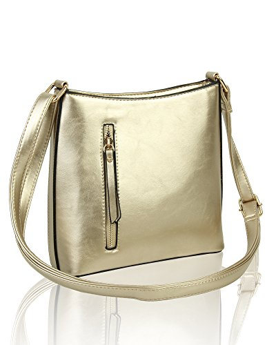 20x20 Vertical With Squared for 5 cm Zip Shoulder Front Slim 5x5 Women Handbag Gold Crossbody Bag Pocket F47qfUUTCw