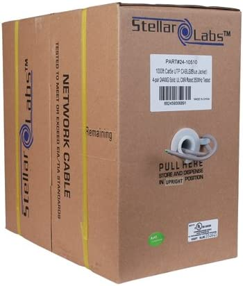 1000ft Category 5e 350MHz Ethernet Cable Gray PVC UL CMR in Pull Box