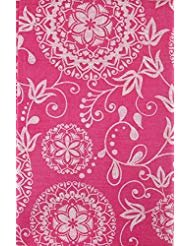 (Woven Embroidery Look Floral Design Vinyl Flannel Back Tablecloth (Magenta, 52