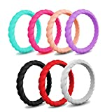 EMBNN Silicone Wedding Ring Women, Thin, Affordable Stackable Silicone Wedding Bands, Spiral Design, Ultra Violet, Rose Red, Black, Red, Mint Green, Silver, Gold gold, Size: 5