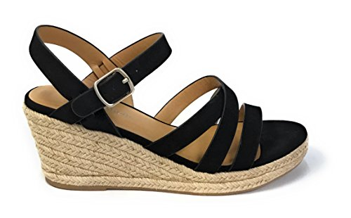 City Classified Women's Criss Cross Open Toe Strappy Sandal Black 7.5 M -
