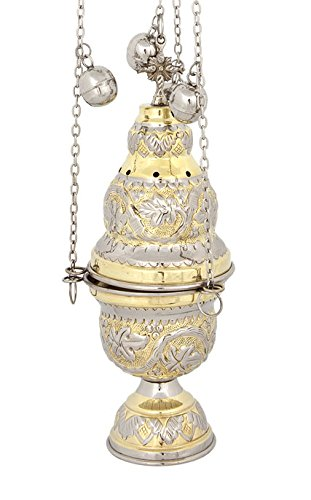 Two Colored Brass Christian Church Thurible Incense Burner Censer (9391 GN) by eChurchSupplies