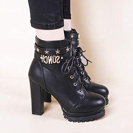 FAQIAN Rivet Booties//Belt Buckle//Rough Heel//Waterproof Platform high Heel Womens Boots 10cm