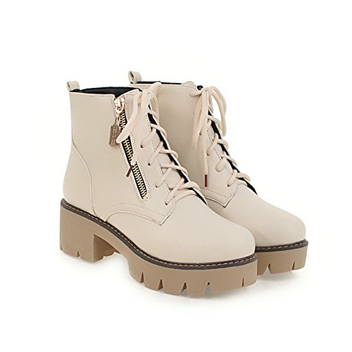 Manmade High Leather Warm Waterproof To Closed Heel Lace Beige Urethane Smooth Match Boots Lining Womens Toe 1TO9 Fashion Dye Strap MNS02616 Adjustable Up Boots 8vfOqnZx
