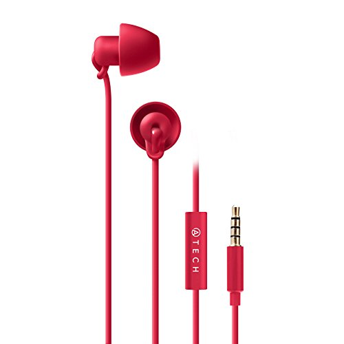 ATECH - Sleeping Earbuds - Ultra Flexible Silicon Earplugs Noise Cancelling with Microphone for Sleeping, Insomnia, Snoring, Air Travel, Relaxation (Pink)