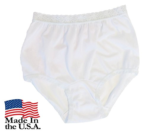 Women's White Nylon Lace Trim Panties Size 5 ()