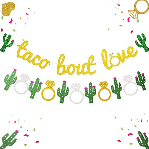 JeVenis Set of 2 Taco Bout Love Banner Taco Party Decoration Taco Banner Fiesta Decor for Fiesta Engagement Party Bachelorette Party or Wedding Shower -