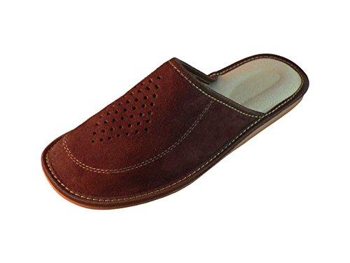 Zapatillas de estar por casa para hombre, ante, con suela ortopédica, varios colores marrón oscuro