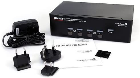 4 Port DVI VGA Dual Monitor KVM Switch USB with Audio /& USB 2.0 Hub StarTech.com SV431DDVDUA