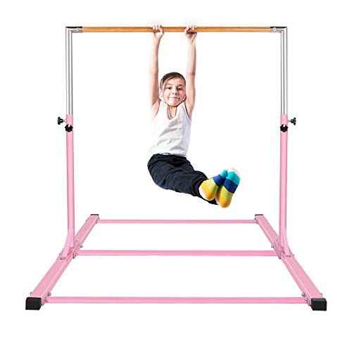 - gymmatsdirect Gymnastics Junior Training Bar - 4.2ft Wide 5ft Long 36-59in Height Adjustable Horizontal Kip Bar for Kids Home Practice