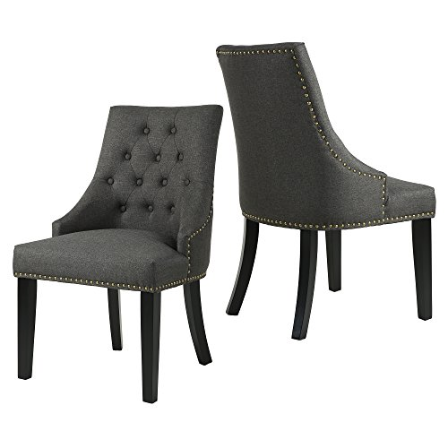 LSSBOUGHT Set of 2 Fabric Dining Chairs Leisure Padded Chairs with Black Solid Wooden Legs,Nailed Trim,Charcoal