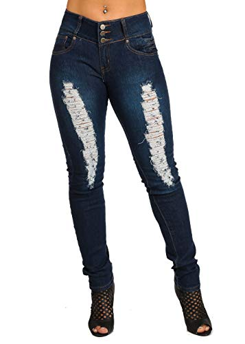ModaXpressOnline Butt Lifting Mid Rise Dark Wash Orange Stiching Ripped Skinny Jeans 10690N