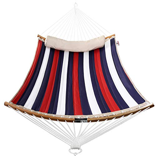 Bathonly Thicken Hammock with Foldable Curved Bamboo Spreader Bars,Detachable Pillow