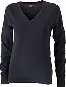 James & Nicholson Women's Jn658 V Neck Pullover Jumper Large Black