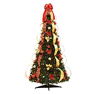BrylaneHome Flat-to-Fabulous Fully Decorated, Pre-Lit 6-Ft. Christmas Tree 85