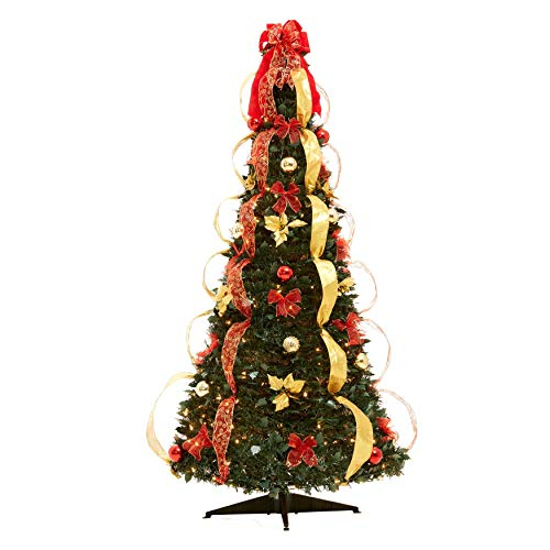 BrylaneHome Flat-to-Fabulous Fully Decorated, Pre-Lit 6-Ft. Christmas Tree - Red - Christmas Decorated White Trees