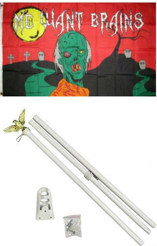 ALBATROS 3 ft x 5 ft Happy Halloween Zombie Wants Brains Flag White with Pole Kit Set for Home and Parades, Official Party, All Weather Indoors Outdoors