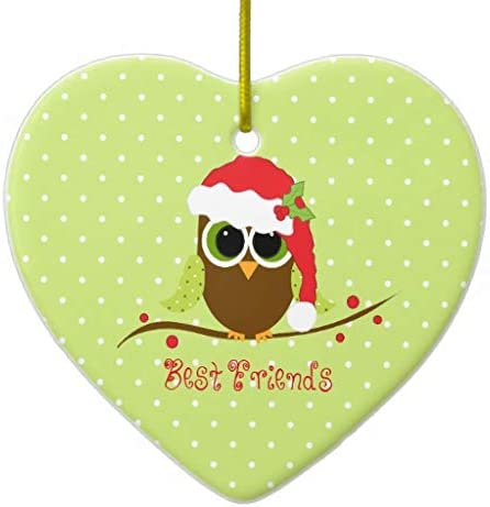 Christmas owl heart ornaments
