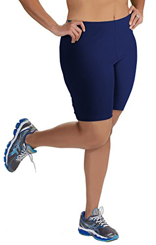 Women's Plus Size Cotton Bike Shorts - Navy - 5X