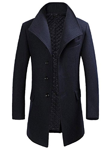 Tootless-Men Oversized Merino Shearling Single Breasted Walker Coat Navy Blue XL