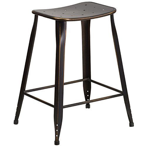 Flash Furniture 24u0027u0027 High Distressed Copper Metal Indoor Outdoor Counter  Height Saddle Comfort Stool