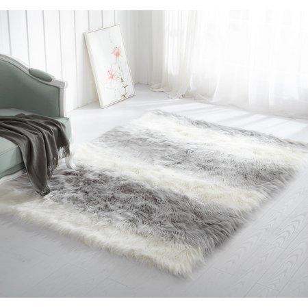 Mainstay Ombre Faux Fur Shag Rug 5 x 7 Grey