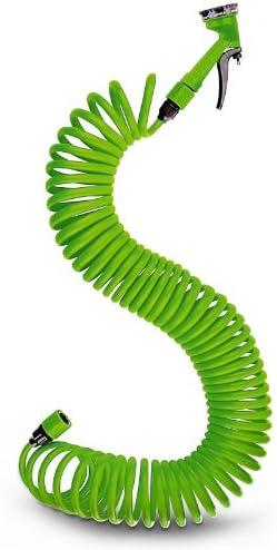 Manguera espiral para jardín 15 metros Con boquilla ajustable: Amazon.es: Jardín