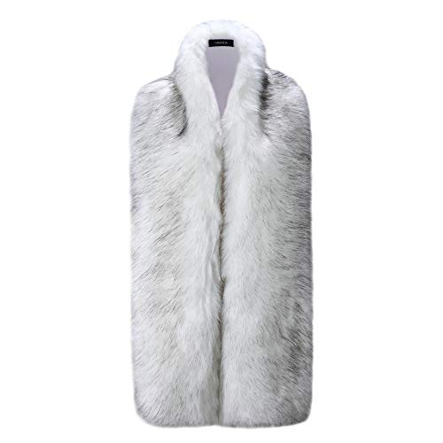 Caracilia Women Long Winter Fashion Faux Fox Fur Collar Scarf White Fox 180CA97 -