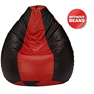 Nexis Sundry XXL Red & Black Indoor/Outdoor Bean Bag Chair Cover: Large Leatherette Furniture Bean Bag Cover without Filers