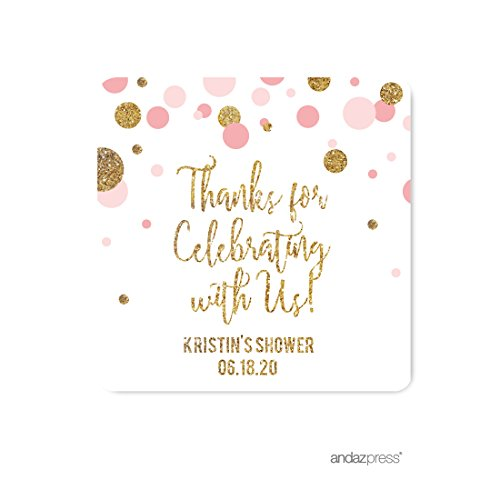 Andaz Press Blush Pink Gold Glitter Girl Baby Shower Party Collection, Personalized Square Label Stickers, Thank You for Celebrating With Us, 40-Pack, Custom Name