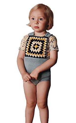 d31df76fd2f Pinleck Newborn Baby Girls Knit Strap Romper Geo Graphic Striped Jumpsuit  Bodysuit