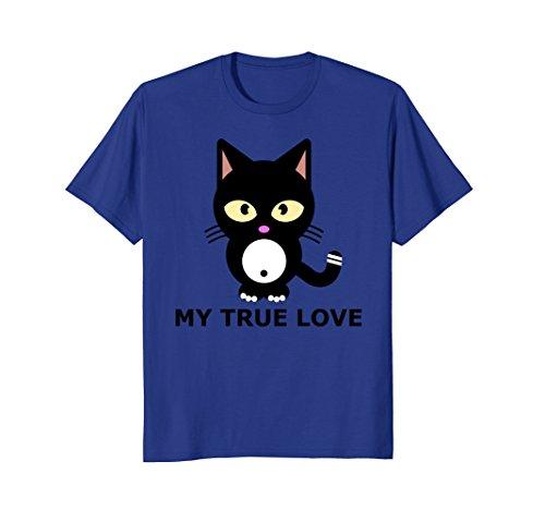 Mens Kawaii Big-Eyed Cat Shirt True Love Tee XL Royal Blue