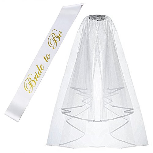 White Double Ribbon Edge Center Cascade Bridal Wedding Veil with Comb& Bride To Be Satin Sash- Bachelorette Party Decorations Supplies