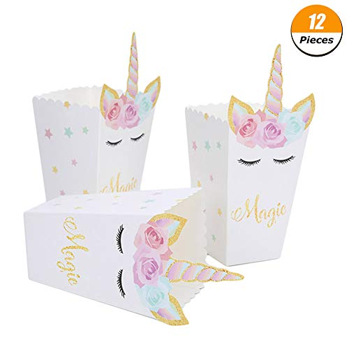 Springcorner 12pcs Unicorn Popcorn Boxes for Unicorn Theme Party Decoration Set, Unicorn Birthday Parties Supplies, Movie Nights or movie party theme Decorations ect. -