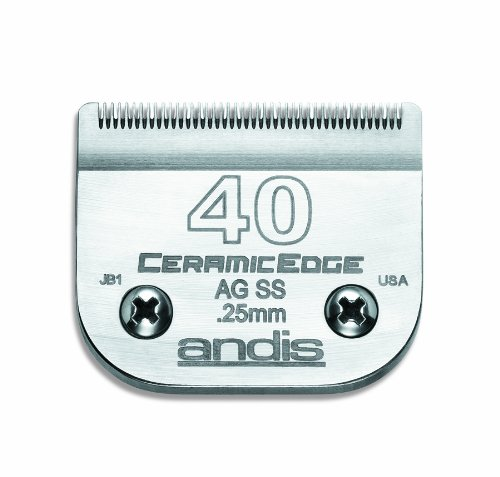 Andis CeramicEdge Carbon-Infused Steel Pet Clipper Blade, Size-40SS, 1/100-Inch Cut Length (64350) by Andis