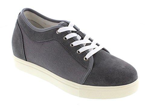 calto–g97196,6cm größer die Höhe Steigerung Aufzug Schuhe (grau Wildleder und Leinwand)