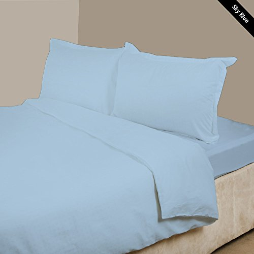 100% Egyptian Cotton 4 PC Attached Water Bed Sheet Set 36 inches inches Deep Pocket Super Soft 600 Thread Count Solid Pattern All Sizes & Colors (Queen , Sky Blue).