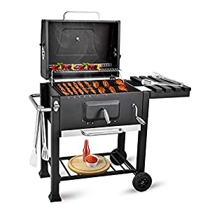 bigzzia BBQ Grill Portable Grill with Side Shelf