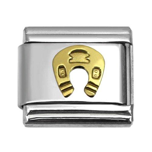 - Horseshoe Italian Charm 9 mm Stainless Steel Bracelet Link