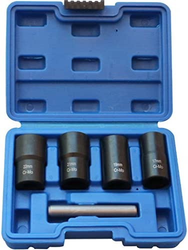 Worn Lug Nut and Lock Remover,KIOLPO,twist socket set 5 Piece , twist socket set 1 2 drive 17,19, 21MM, 22MM