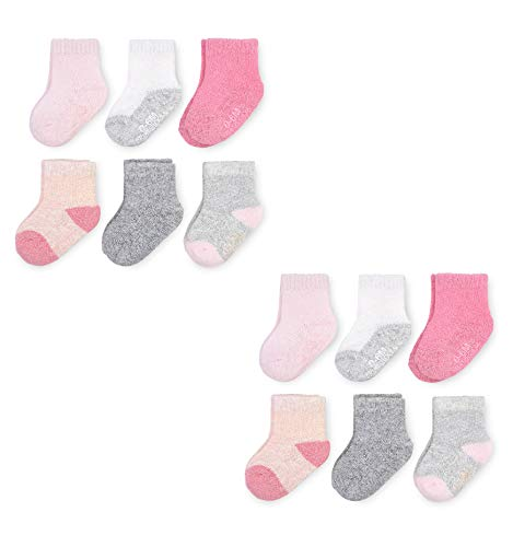 Fruit of the Loom Baby Gift Set 12-Pair Breathable Crew-Length Cooling Mesh Socks - Unisex, Girls, Boys  (6-12 Months, Pink)