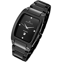Rougois Men's 61062GB High-Tech Black Ceramic Watch with Genuine Diamonds Swiss Movement