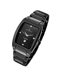 Rougois Men's High-Tech Black Ceramic Watch with Genuine Diamonds