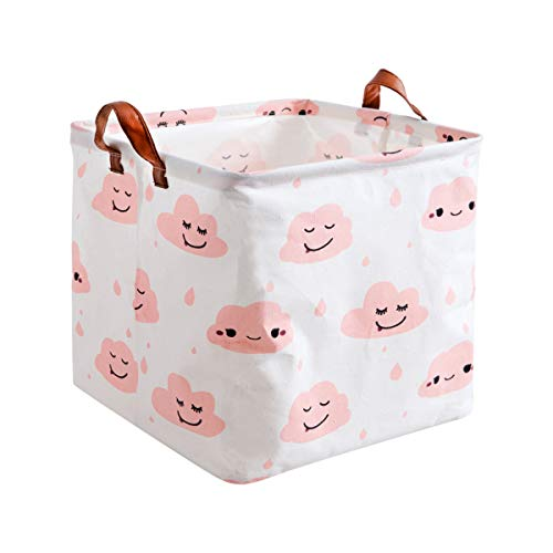 Square Storage Bins Canvas Collapsible Storage Basket with Handles Toy Organizer for Nursery, Kid's Toys, Closet & Laundry, Gift Basket(Pink Cloud)